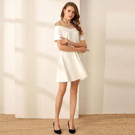 白色小礼服裙2020新款名媛v领年会a字收腰小白裙连衣裙赫本风短款图片