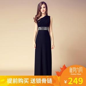 晚礼服女2019新款高贵时尚宴会气质高端大气优雅单肩连衣裙长款裙