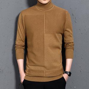 男士修身韩版高领毛衣2019新款两翻领纯色打底衫紧身针织线衫男装