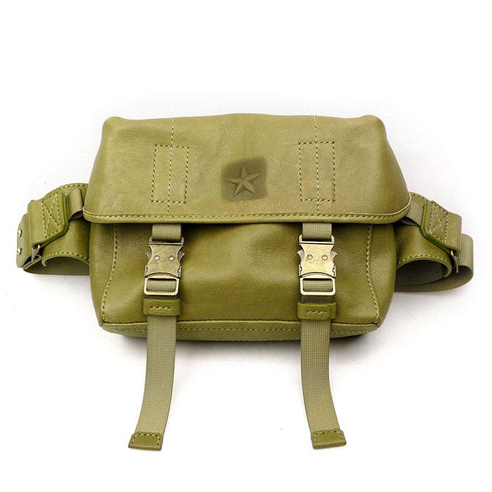 Maotoutou and toutoumao messenger series original manual cowhide tactical style mens waistpack olive army green customization