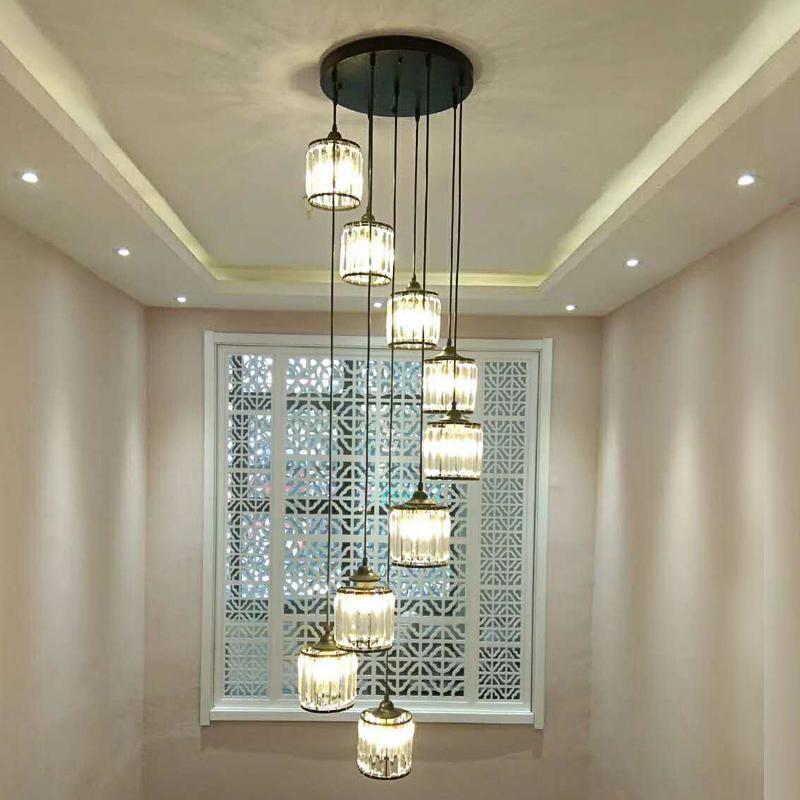 楼梯转角吊灯客厅水晶吊灯歺厅家用吊灯长款复式楼梯间掉灯造型灯