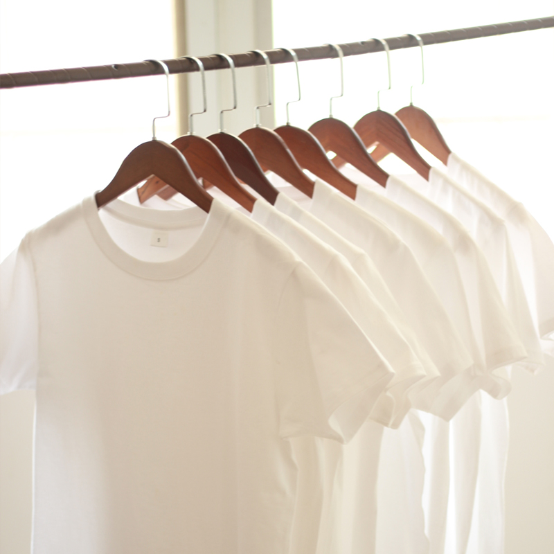 Tee恤男女白T日本重磅厚实纯棉圆领短袖基础款打底200g两件装