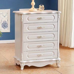 五斗柜轻奢 卧室欧式白色雕花抽屉柜储物收纳柜简约现代经济型五