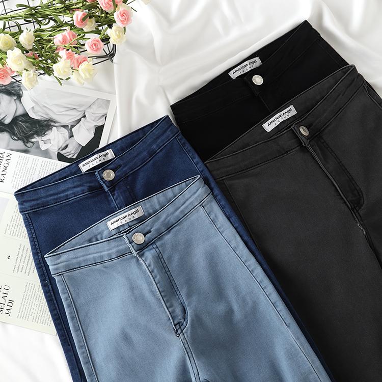 正品新款欧美AA弹力复古高腰修身口袋显瘦紧身牛仔裤小脚裤九分裤