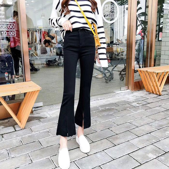 18年春韩版新款女装弹力显瘦微喇叭女裤外穿打底裤前开叉休闲裤薄