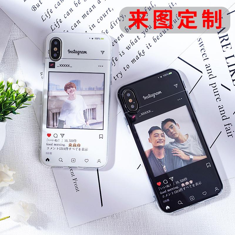 ins写真ケースカスタムアップル7/8 plus個性Diyカードiphone X/Xrカップルを適用します。