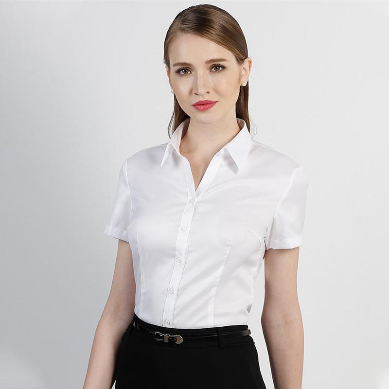 鲁泰佰杰斯短袖衬衫女2019新款白色纯棉免烫防皱衬衫套装职业气质