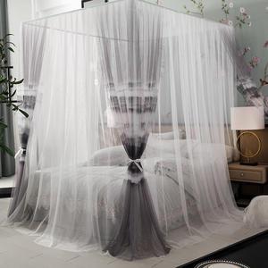 新中式双层蚊帐家用床幔宫廷公主风落地加密加厚1.5m1.8米床支架
