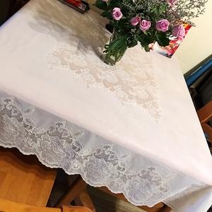 日本进口桌布防水正方形台布蕾丝PVC塑料欧式茶几布80圆方桌可用