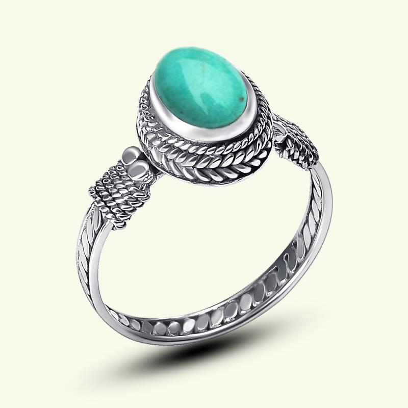 九壹银庄 925纯银饰品 女款绿松石戒指环活口复古泰银镶嵌宝石