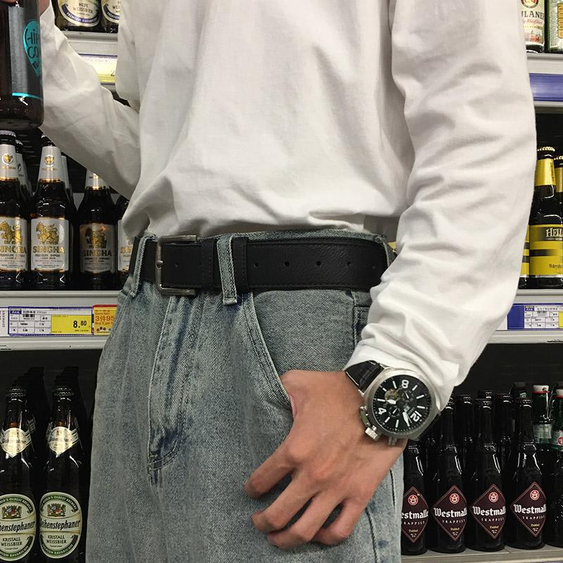 宽皮带男潮年轻人简约百搭韩版学生牛仔裤腰带时尚个性潮流韩国黑
