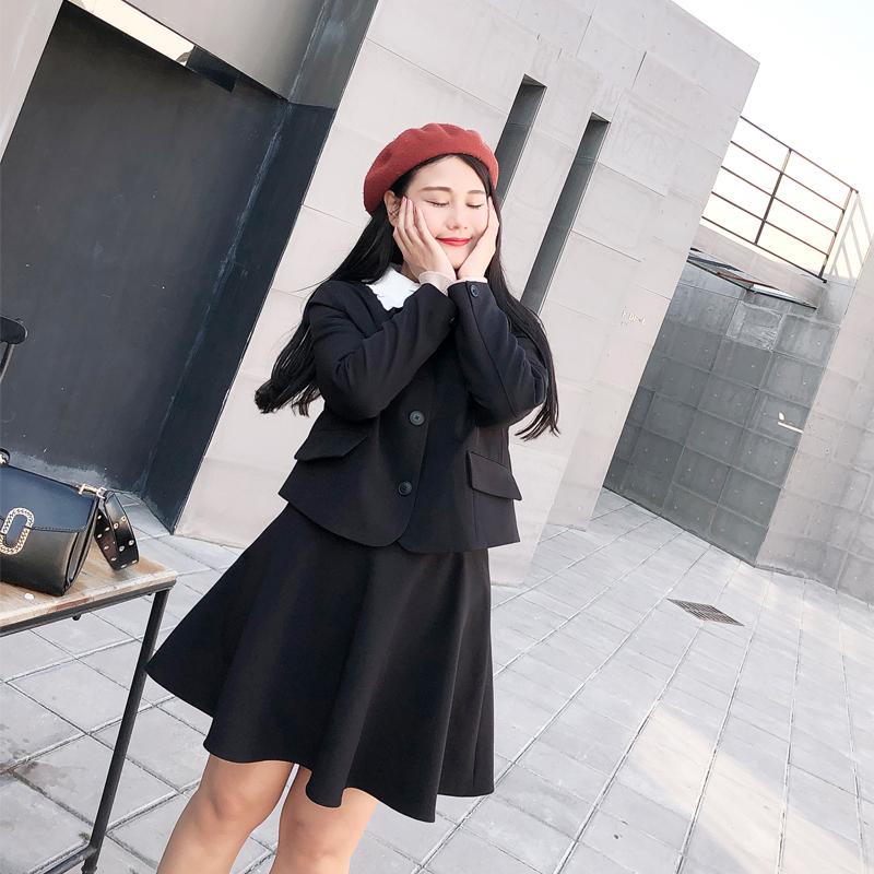 罗拉家 胖MM大码女装自制2018秋新款日系少女风拼色长袖西装外套