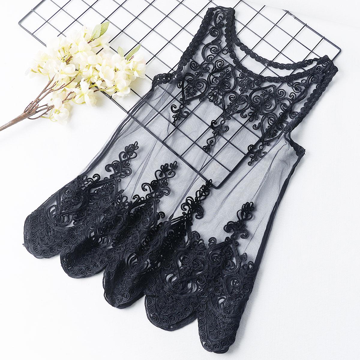 R1 刺繡網紗背心無袖吊帶女外穿寬鬆中長款性感蕾絲馬甲上衣外搭