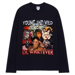 美式原創説唱歌手印花復古嘻哈hiphop情侶寬鬆bf風長袖男T恤街頭