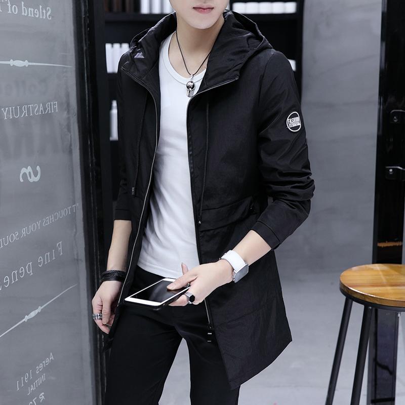 男装风衣中长款修身 男士外套秋冬季2020新款休闲夹克男装图片
