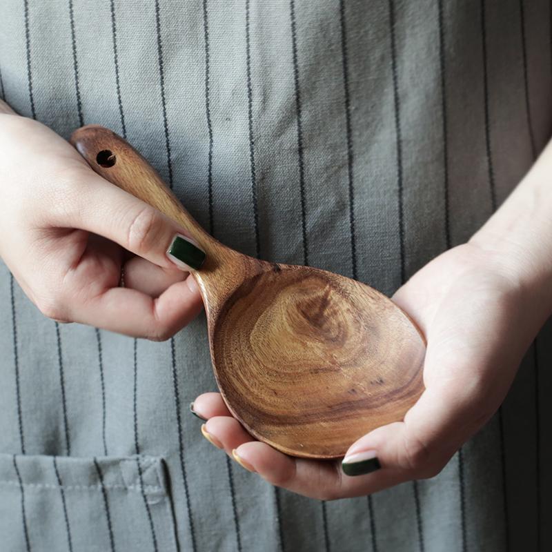 Cybil тик целую дерево качество крепки жесткий практический прочный рис ложка рис лопата здоровье домой дерево ложка