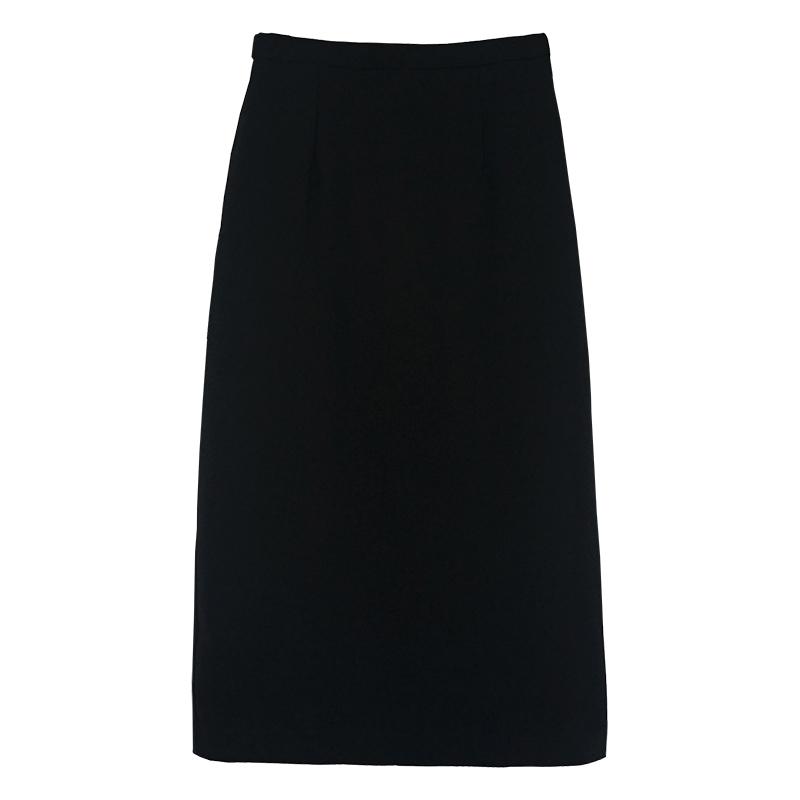 yesroom19秋季新款韩版简约复古高腰显瘦后开叉铅笔裙中裙半身裙