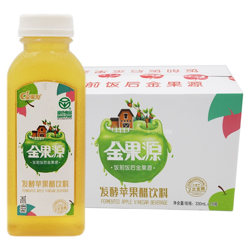 Jinguoyuan fermented apple vinegar beverage 330ml * 15 bottles of green food fermented apple juice beverage package
