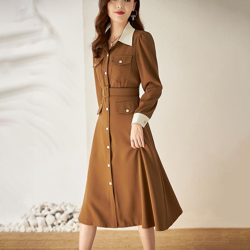 2021年通勤OL撞色翻领单排扣长袖系带收腰衬衫裙纯色连衣裙中长裙