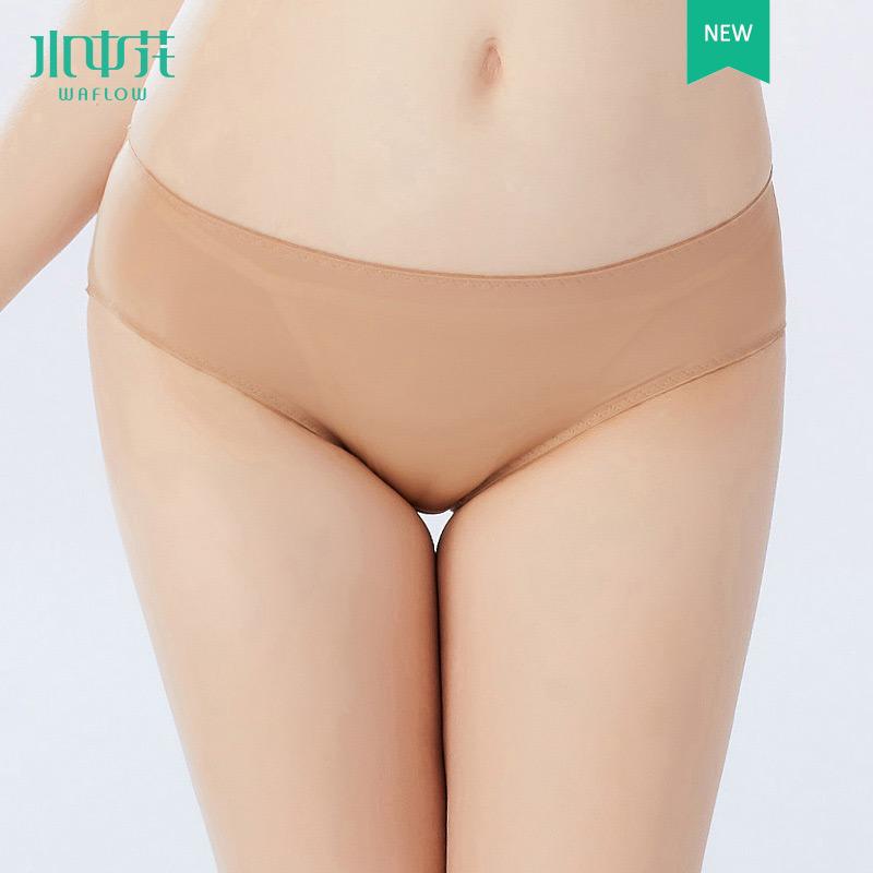 正品水中花新款简约舒适透气无痕平角性感内裤提臀薄款纯色短裤女