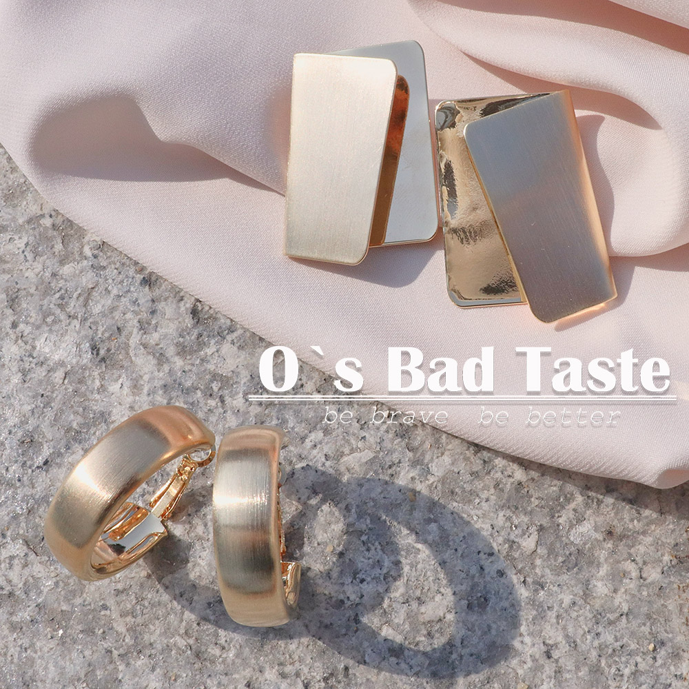 Miss Os bad taste European and American minority clean and fashionable metal exaggeration cold air temperament Earrings girl