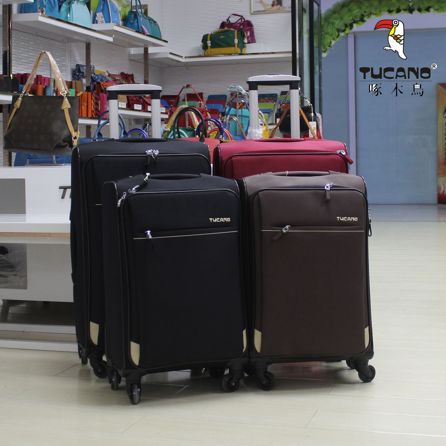 Double 11 clearance woodpecker Oxford cloth Trolley Case universal wheel business suitcase 24