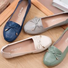牛筋底妈妈鞋真皮防滑软底平底休闲中老年单鞋舒适一脚蹬春夏皮鞋