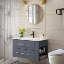 卫浴北欧浴室柜组合卫生间现代简约实木洗脸洗手盆洗漱台盆挂墙式