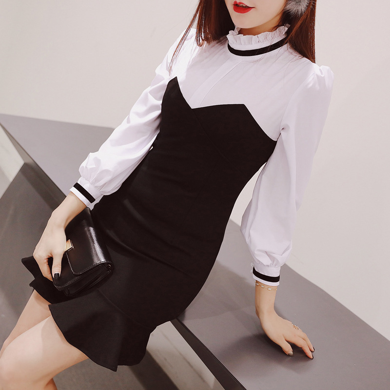 2020 new spring and autumn womens temperament standing collar black and white stitching slim Long Sleeve Ruffle Dress with buttocks and fishtail skirt