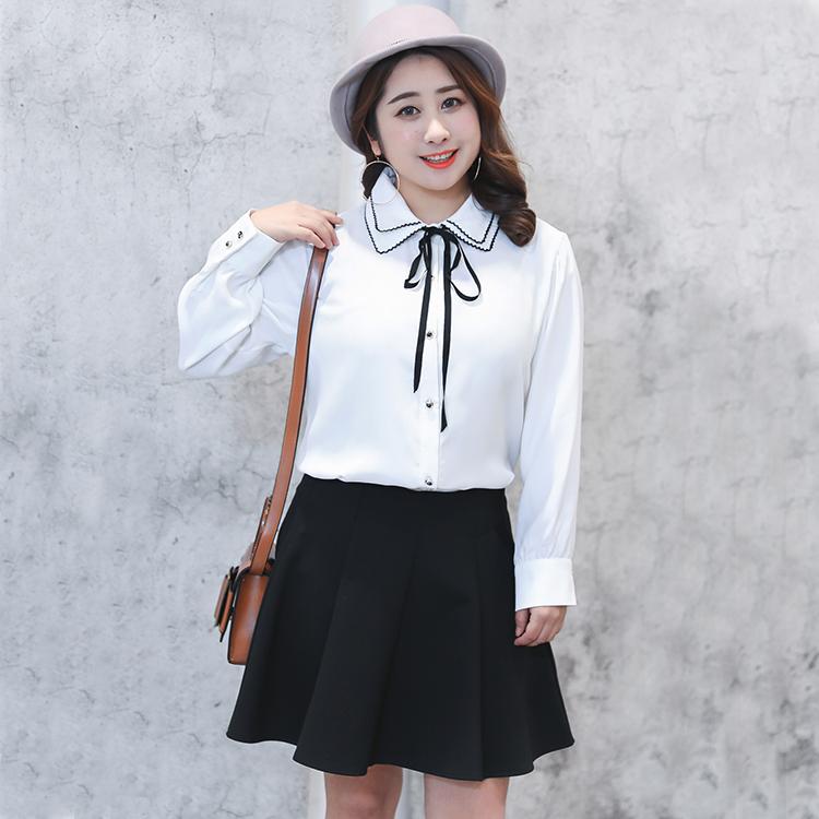 【白色预|售】新品胖mm加肥加大码女装韩版修身显瘦娃娃领雪纺衬 thumbnail