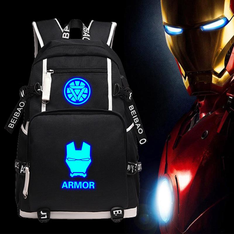 学院の中小学生のカバンの男のアイアンマンのファスナーの双肩はあふれて威の6学年の夜の光の少年のプリントのリュックサックを包みます