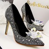 【MOQ 50 pairs】Han edition of Cinderella's glass slipper shallow mouth high-heeled shoes flower diamond wedding shoes sex