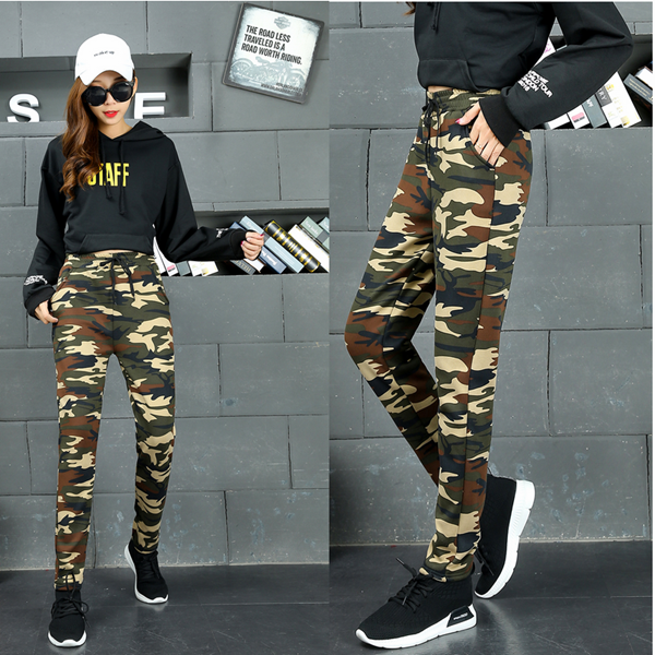 New camouflage pants womens autumn pants loose elastic thin Harun casual pants womens military outdoor sports pants