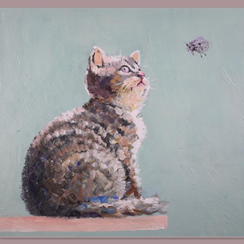 動物原創藝術收藏包郵純手繪油畫貓咪與蝴蝶現代簡約風格客廳掛畫