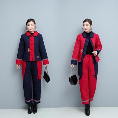 871#2019冬季原创新款女装民族风棉麻加厚长袖绣花棉衣棉裤两件套