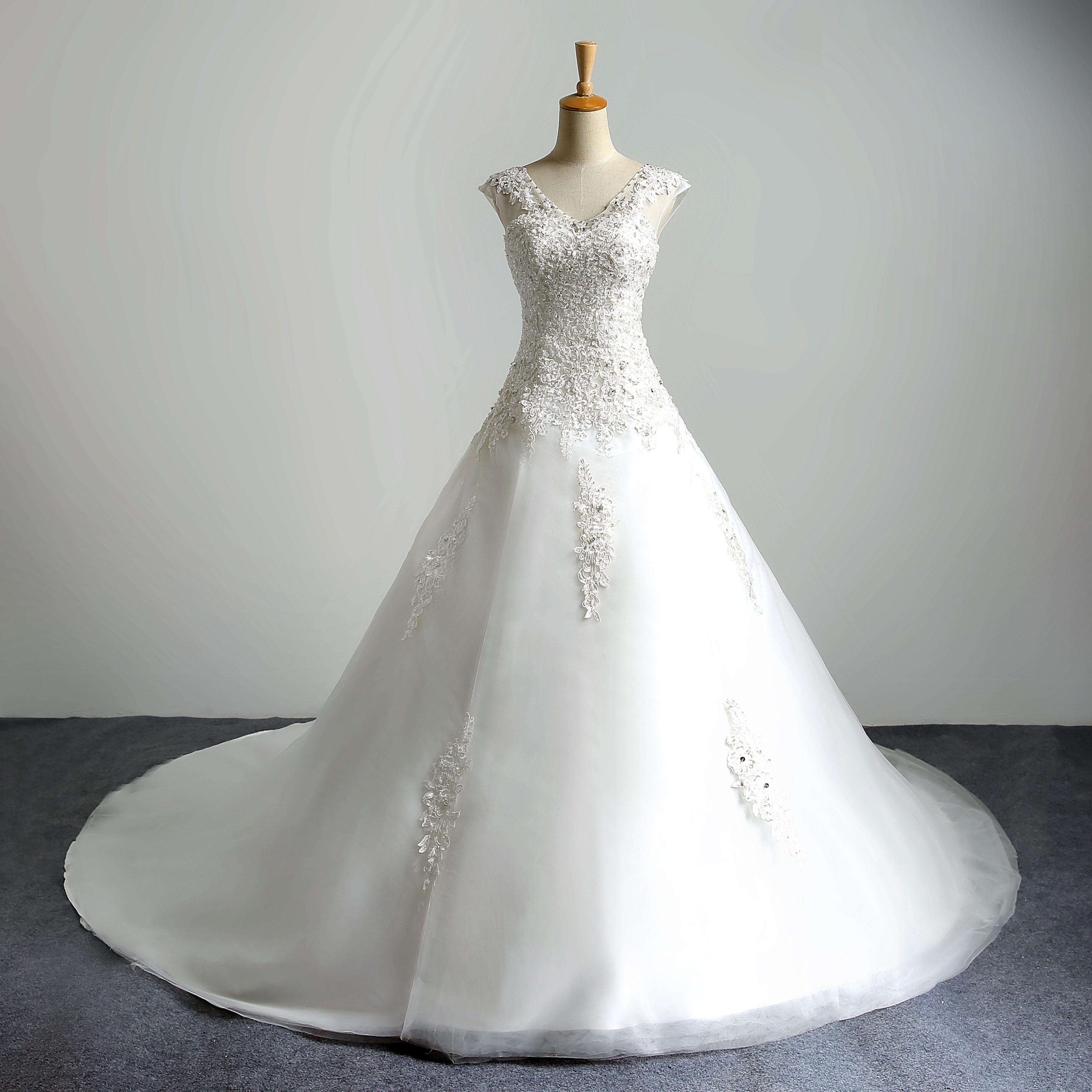 新款韩版婚纱礼服新娘简约双肩婚纱齐地小拖尾显瘦双肩韩式蓬蓬裙