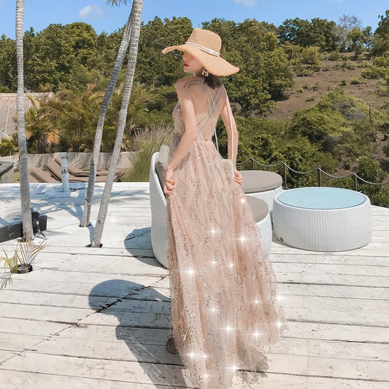 巴厘岛泰国三亚沙滩裙2019新款吊带露背连衣裙长裙超仙海边度假女