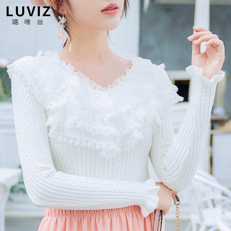 V领长袖白色上衣秋冬仙女风蕾丝甜美淑女修身毛衣针织衫打底衫女