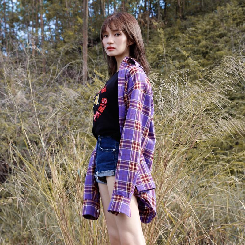 首遇秋冬磨毛紫色格子衬衫女长袖韩版宽松衬衣女黄色复古港味上衣