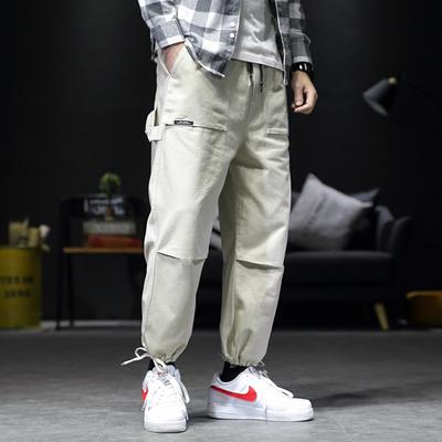 K262黑墙春季新日系大码男宽松束脚松紧腰休闲长裤P55【控88】1