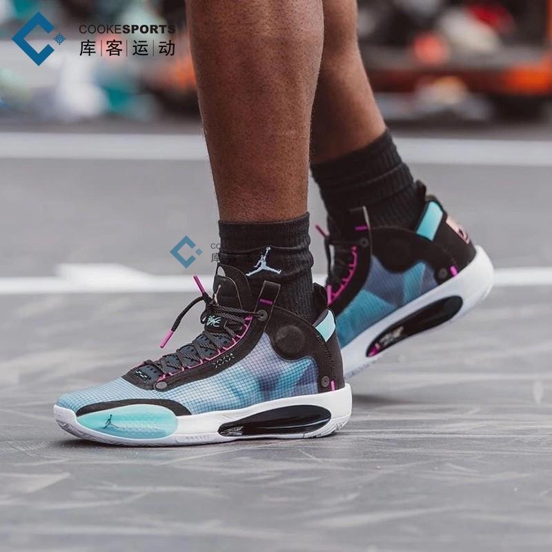 库客 Air Jordan 34 AJ34首发蓝紫电光镂空男子篮球鞋AR3240-400