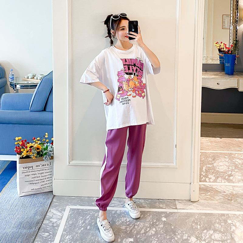 孕妇装夏装上衣2020新款网红套装纯棉宽松短袖T恤休闲运动两件套图片