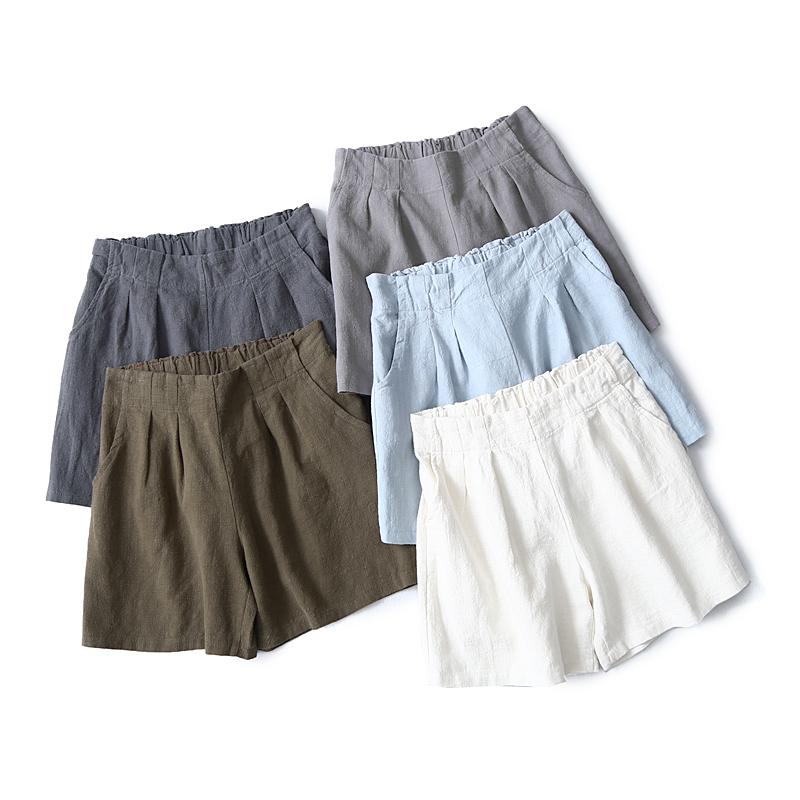 出口单夏季女装 森女显瘦长腿后松紧高腰棉麻短裤休闲裤裙裤热裤