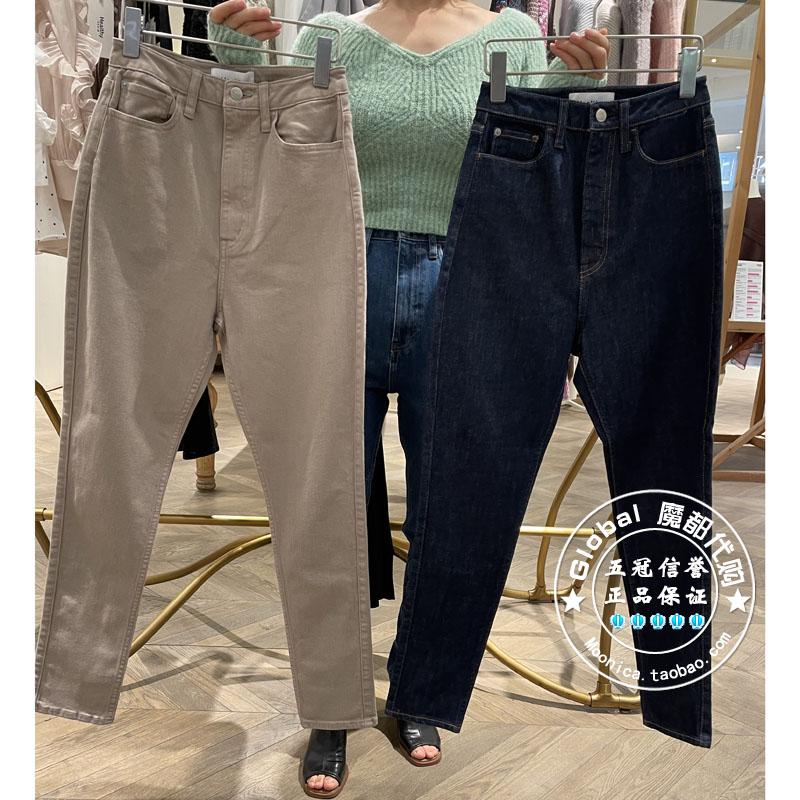 SNIDEL国内代购 21年秋冬 日系纯色直筒高腰牛仔裤SWFP214038