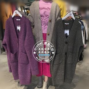 18秋冬特价 SLY代购 日系长款针织开衫连衣裙外套 030CSA70-0220