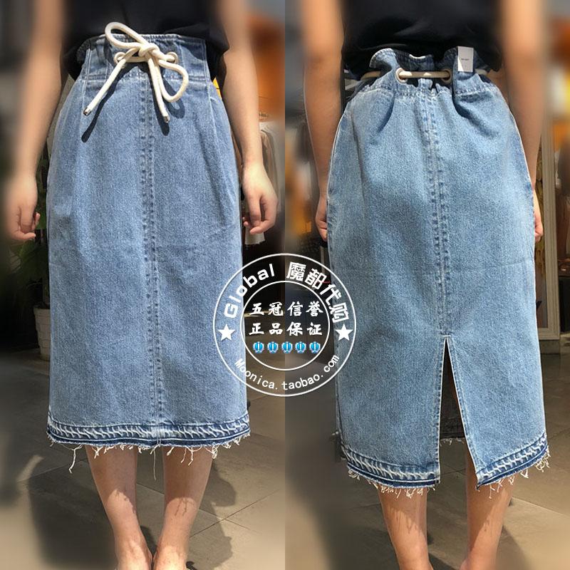 18春夏特价 Moussy专柜代购 腰部抽系带牛仔半身裙 010BSS11-0080