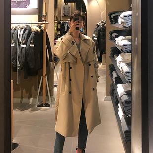 2020春季新款风衣男中长款韩版潮流英伦风帅气过膝男士卡其色外套