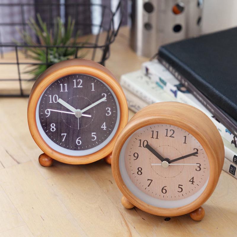 10月12日最新优惠松木静音实木头闹钟创意学生卧室床头钟表贪睡夜灯出口日系小闹钟