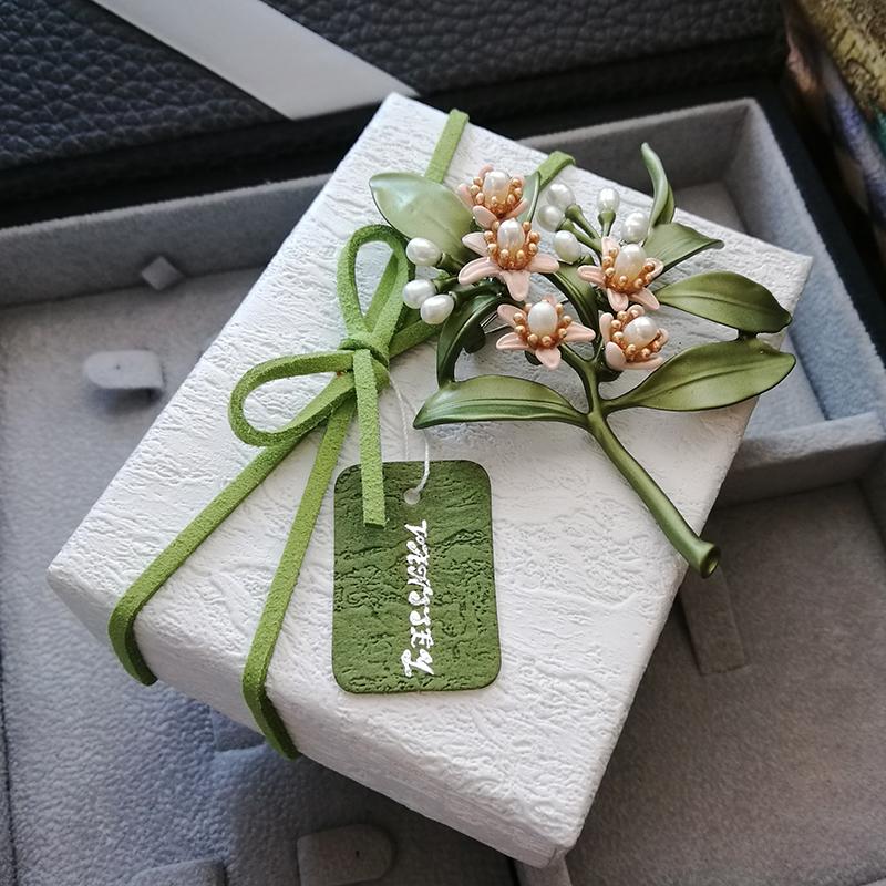 現貨定製款包裝盒 Vintage 草木綠色樹皮紋胸針耳環首飾包裝盒