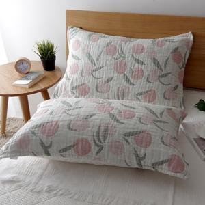 纯棉一对装五层纱布加厚加大枕巾